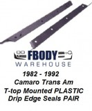 1982 - 1992 Camaro Trans Am T Top Weather Seals Glass Edge Drip Plastic Version PAIR Muscle Car Industries
