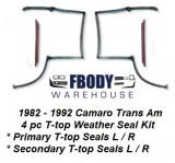 1982 - 1992 Camaro Trans Am T Top Weather Seals Set 4 pc Muscle Car Industries