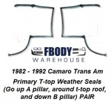 1982 - 1992 Camaro Trans Am T Top Weather Seals Primary PAIR Muscle Car Industries
