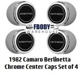 1982 Camaro Berlinetta Center Caps NEW Set of Four Chrome