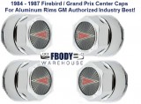1984 - 1987 Firebird / Grand Prix Center Caps for Aluminum Rims GM Authorized w/ Arrowhead Logo SET OF 4