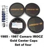 1985 - 1987  Camaro IROC Z28 Center Caps GOLD Set NEW Set of Four