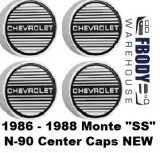1986 - 1988 Monte Carlo SS Aluminum Rims N90 Center Caps Set of 4 NEW