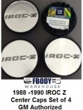 1988 - 1990  Camaro IROC Z28 Center Caps SILVER Set NEW Set of Four
