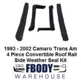 1993 - 2002 Camaro Firebird Trans Am Convertible Top Side Rail Weather Seals 4 Pc Kit