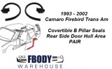 1993 - 2002 Camaro Firebird Trans Am Rear Door Opening Weather Seals PAIR Convertible Models