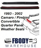 1993 - 2002 Camaro Firebird Trans Am Convertible Quarter Panel to Top Weather Seals PAIR