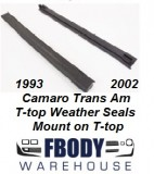 1993 - 2002 Camaro Firebird Trans Am T-top Secondary Weather Seals Mount on T-top