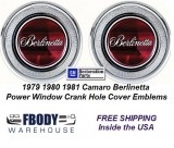 1979 - 1981 Camaro Berlinetta Power Window Crank Hole Cover Door Panel Emblems NEW PAIR