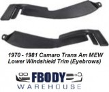 1970 - 1981 Camaro Trans Am Lower Windshield Trim (Eyebrows) Sold as a PAIR