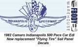 1982 Camaro Indy Pace Car Flying Tire Sail Panel Decals PAIR