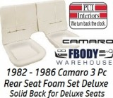 1982 - 1986 Camaro Deluxe Rear Seat Foam NEW Solid Back Rest