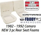 1982 - 1992 Camaro Standard Rear Seat Foam NEW Solid Back Rest