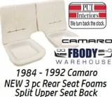 1984 - 1992 Camaro Deluxe Rear Seat Foam NEW Split Back Rest