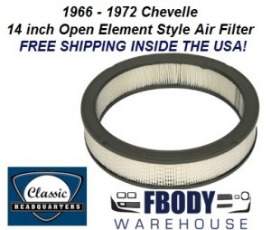 1966 - 1972 Chevelle Air Cleaner Element Air Filter 14 Inch Open Element or Cowl Induction style