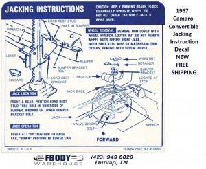 1967 - 1968 Camaro Convertible Trunk Jack Instruction Decal NEW #3919193