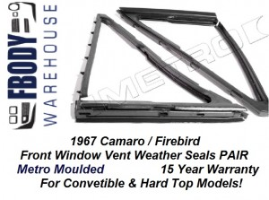 1967 Camaro Firebird Front Side Window Vent Weather Seals PAIR Metro Moulded