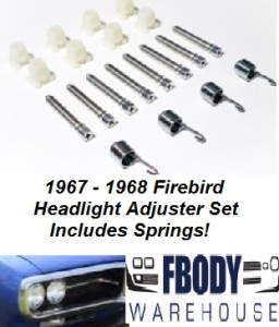 1967 - 1968 Firebird Head Light Adjuster Kit WITH Springs