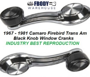 1967 - 1981 Camaro Trans Am Window Crank Handle NEW Black Knob