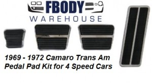 * 1969 - 1972 Camaro Firebird Pedal Pad Kit 8 Pc 4 Speed Cars