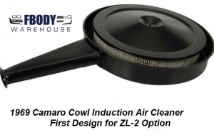 1969 Camaro Cowl Air Cleaner Assembly w/ Flat Bottom ZL-2 Option