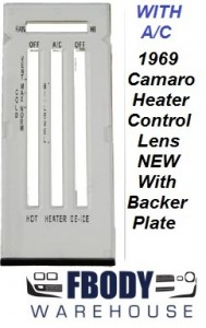 1969 Camaro Heater Control Lens BLACK Letters w/ WHITE Backer WITH Air Conditioning