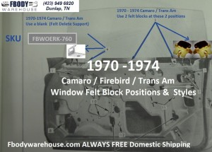 1970 - 1981 Camaro Trans Am Window Felt Guide Block Set (3)  w/ INSTALL VIDEO!