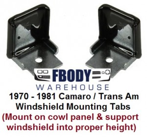 1970 - 1981 Camaro Trans Am Lower Windshield Support Braces NEW