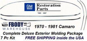 1970 - 1981 Camaro COMPLETE Deluxe Exterior Molding Package 7 Pc Kit
