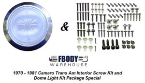 1970 - 1981 Interior Screw Kit + Dome Light Set SPECIAL