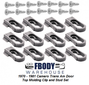 1970 - 1981 Camaro Trans Am Door Top Chrome Clip and Stud set