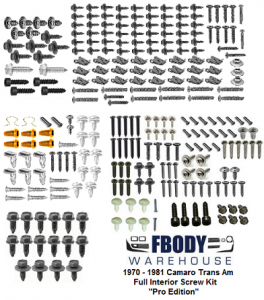 "1970 - 1981 Camaro Full Interior Screw Kit 280 Piece Kit ""Pro Edition"""