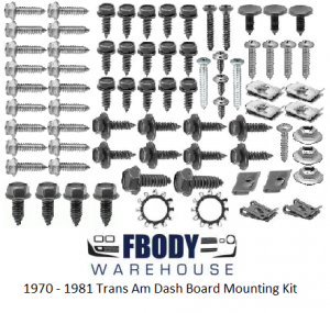 1970 - 1981 Trans Am Dash Mounting Screw Set NEW FBODYWAREHOUSE EXCLUSIVE!