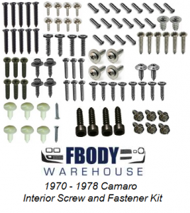 1970 - 1978 Camaro Interior Screw Kit 92 Piece Hard Top