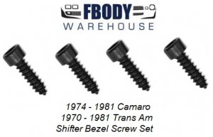 1970 – 1981 Camaro Trans Am Shifter bezel Screw Set 4 pc