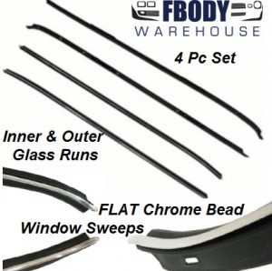 1970 - 1981 Camaro Trans Am Door Window Sweeps with FLAT Chrome Bead 4 pc Set Inner / Outer