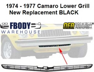 1974 - 1977 Camaro Lower Grill Black NEW