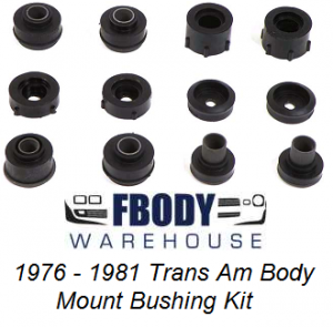 1967 - 1981 Trans Am Firebird Subframe Body Mount Bushing Kit