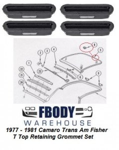 1977 - 1981 Camaro Trans Am Fisher T-top Slide Retainers 4 pc Set Grommet Retainers