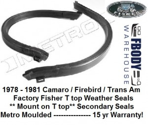 1978 - 1981 Camaro Trans Am T Top Secondary Weather Seals PAIR Metro Moulded