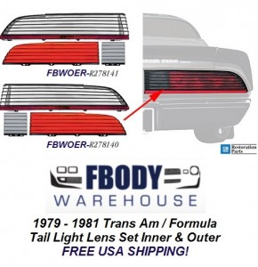 1979 1980 1981 Trans Am / Firebird Formula Tail Light Lens Set NEW GM Authorized Reproduction!