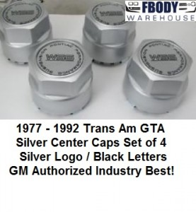 1977 - 1992 Trans Am WS6 Center Caps NEW Set of 4 Silver With Silver Logos