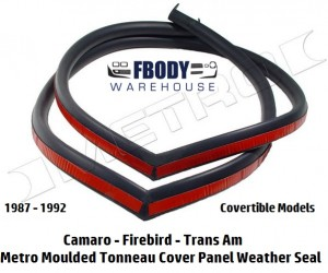 1987 - 1992 Camaro Trans Am Convertible Tonneau Cover Panel Weather Seal Metro Moulded