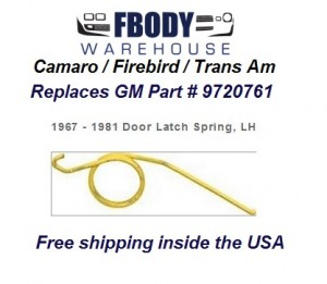 1967 - 1981 Camaro Trans Am Door Latch Mechanism Spring NEW Left Hand