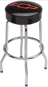 Chevrolet Bar Stool 30 Inch Tall Black With Red Bow Tie