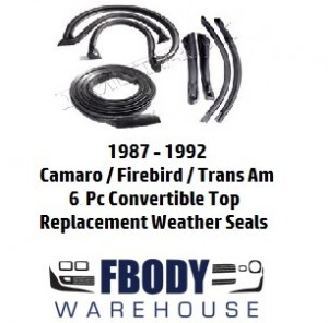1987 - 1992 Weather Seal Kit 6 Piece Convertible Camaro Trans Am  Firebird Metro Moulded
