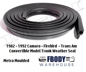 1987 - 1992 Camaro Trans Am Trunk Weather Seal CONVERTIBLE Metro Moulded