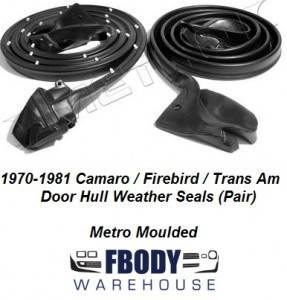 1970 - 1981 Camaro Trans Am Door Hull Weather Seals Metro Moulded
