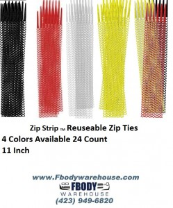 24 Ct. Zip Ties 11 inch 4 Colors Available Reuseable