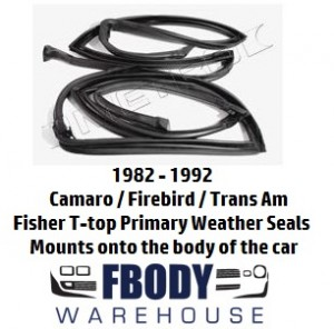 1982 - 1992 Camaro Trans Am T Top Weather Seals Primary PAIR Metro Moulded